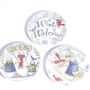 Other - 3 sweet Snowmen dessert plates by Tricia Santry